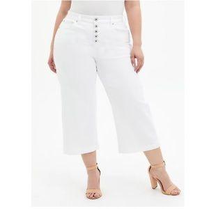 Torrid Crop High Rise Wide Leg White Jeans